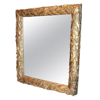 French Gilt Laurel and Ribbon Decorated Mirror For Sale