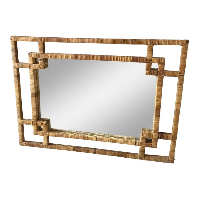 Mid-Century Rattan Mirror Excellent Condition For Sale