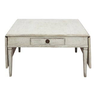 Swedish Gustavian Pine Drop Leaf Low Table For Sale