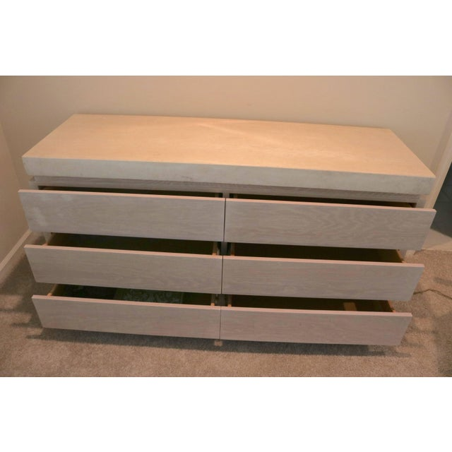 Six-Drawer Chest of Drawers in Cerused Oak Stone Top by Kreiss For Sale In West Palm - Image 6 of 7