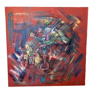 Large Mid-Century Abstract Floral Oil Painting on Canvas For Sale