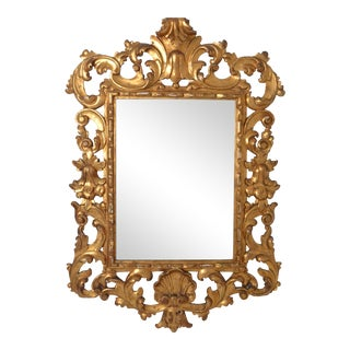 Large Rococo Style Giltwood Mirror Italy circa 1950s