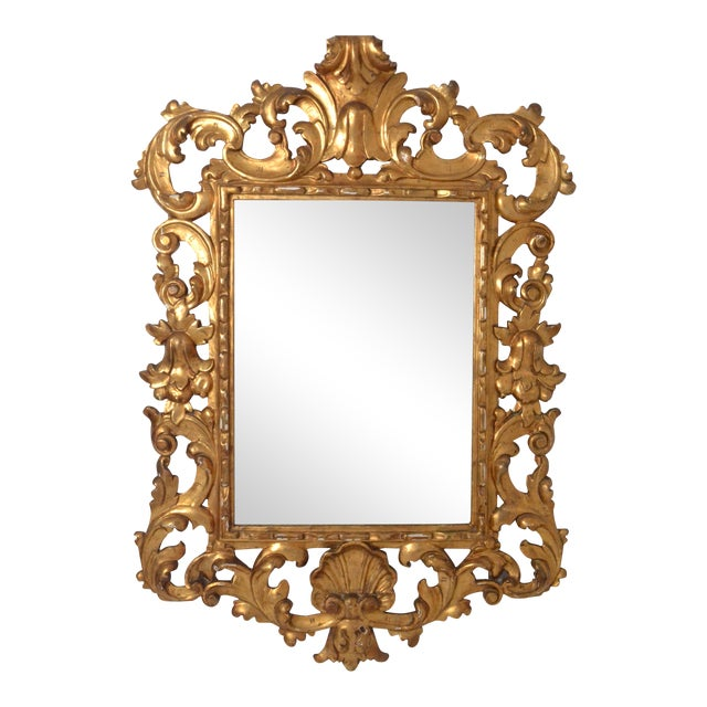 Large Rococo Style Giltwood Mirror Italy circa 1950s For Sale