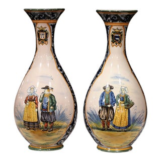 19th Century French Hand Painted Faience Vases Signed Henriot Quimper - a Pair For Sale