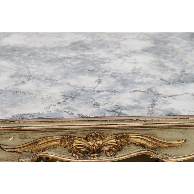 Glass Italian Large Oval Painted Louis XV Style Table With Antiqued Mirrored Top For Sale - Image 7 of 13