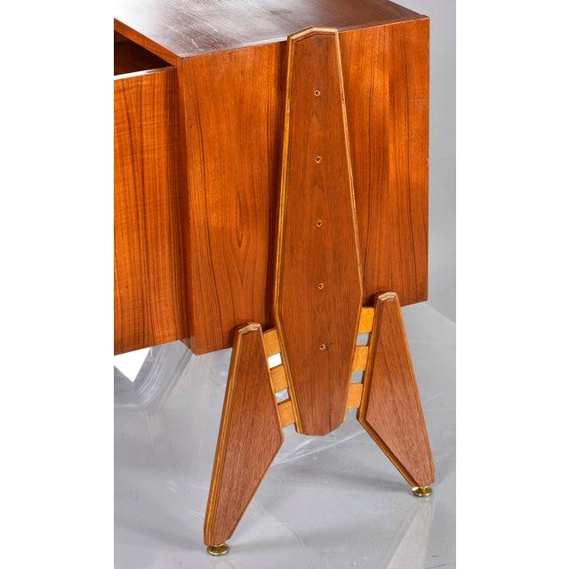 Pair Mid Century Italian Adjustable Height Teak Side Cabinets For Sale - Image 12 of 13