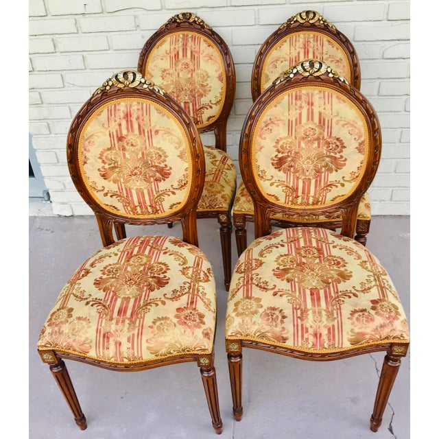 Set of 4 Vintage Beige & Burgundy French Dining Chairs For Sale - Image 13 of 13