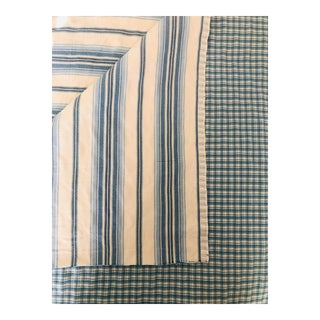 Designer Quilted Blue and White Cotton Fabric - 1 3/4 Yards For Sale