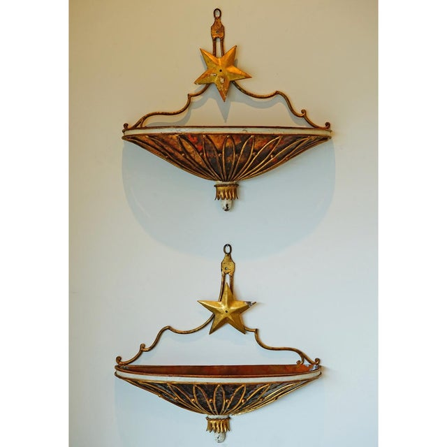 1940's French Appliqués, copper plated lead & tin with gold & white gesso paint.