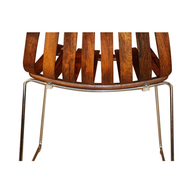"Metal Norwegian Modern Hans Brattrud ""Scandia"" Rosewood Dining Chairs For Sale - Image 7 of 11"