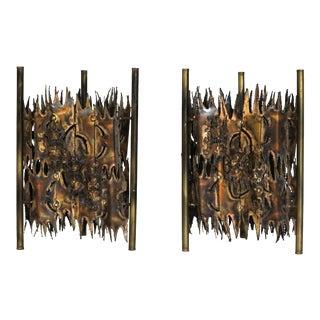 Silas Seandel Style Brutalist Floor Lamps - A Pair