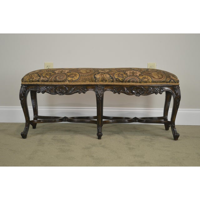 French French Louis XV Style Carved Walnut Window Bench For Sale - Image 3 of 12