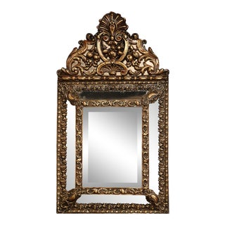 19th Century French Napoleon III Overlay Repousse Copper Wall Mirror For Sale