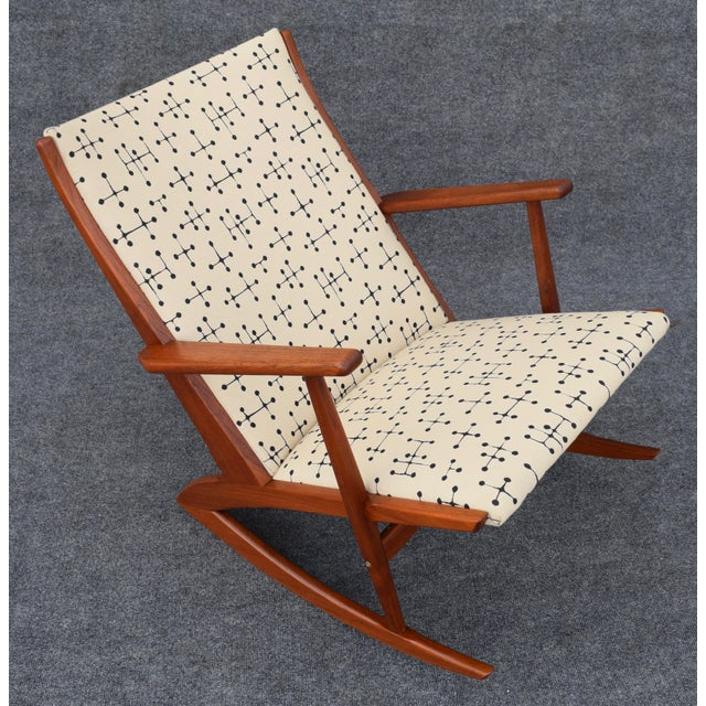 Danish Modern Vintage Georg Jensen for Kubus Danish Mid-Century Boomerang Teak Rocking Chair For Sale - Image 3 of 11
