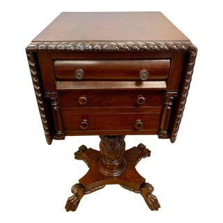 Antique Empire Carved Mahogany Drop Leaf Pedestal End Table For Sale