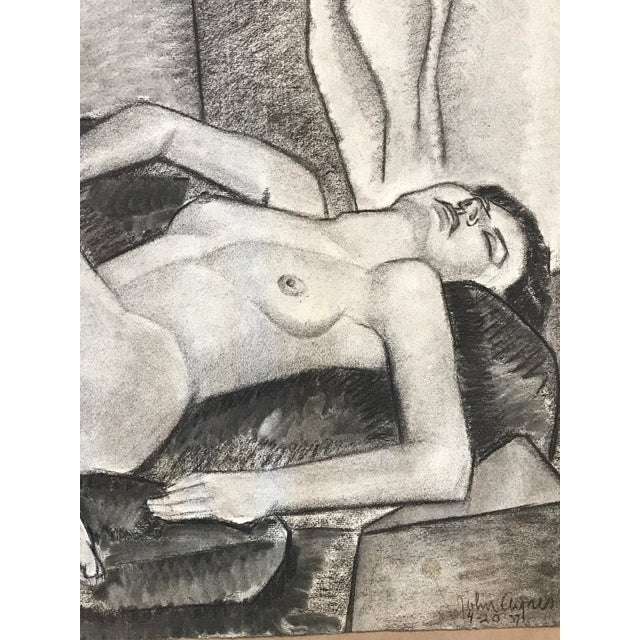 "John Ayres Nude Lounging April 20, 1937 Charcoal on Paper 25""x19"", unframed Signed and dated in charcoal bottom right and..."