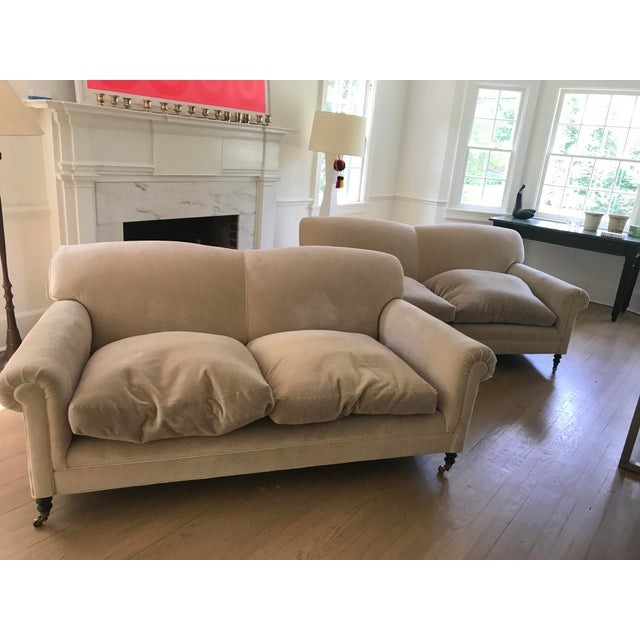 """White George Smith """"Full Scroll Arm Signature Sofas"""" - A Pair For Sale - Image 8 of 9"""