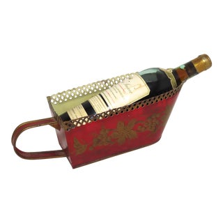 Antique French Toll Painted Tin Wine Bottle Caddy For Sale