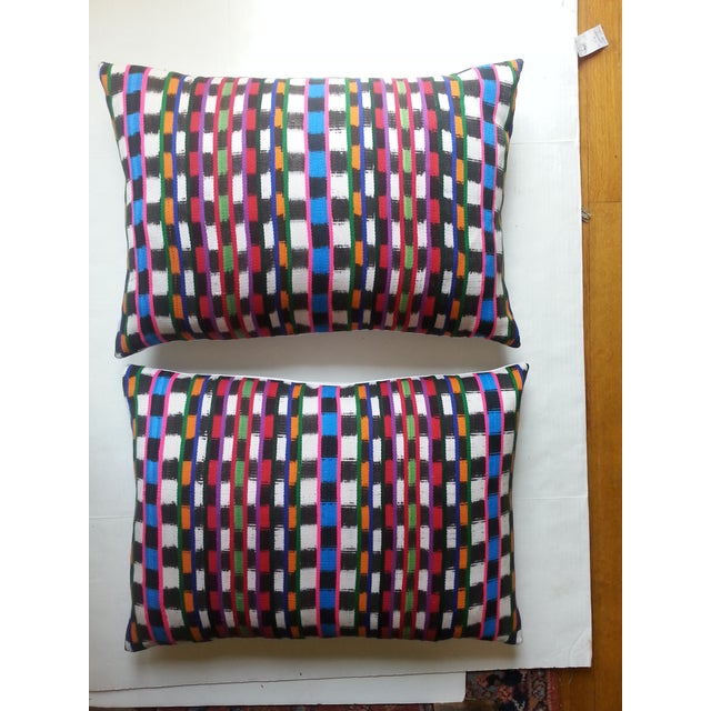 Guatemalan Multi-Plaid Pillows - A Pair - Image 2 of 4