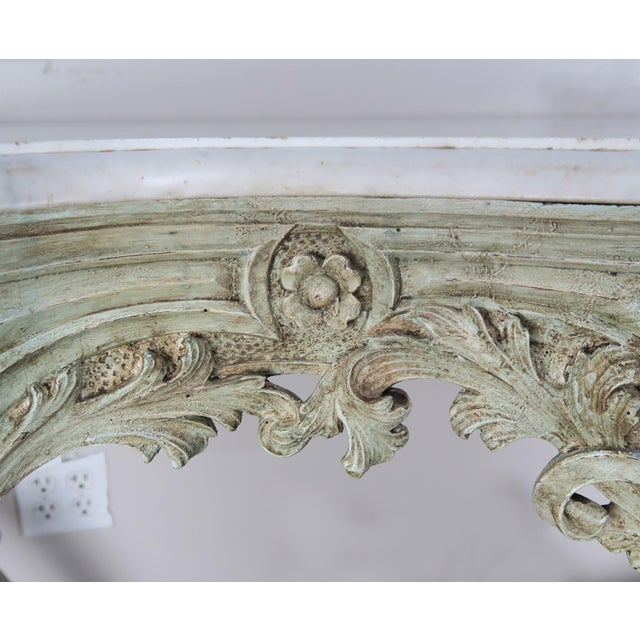 Wood 19th Century French Rococo Style Painted Console With Carrara Marble Top For Sale - Image 7 of 13