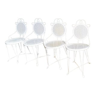 Vintage White Wire Mesh Garden Chairs - Set of 4