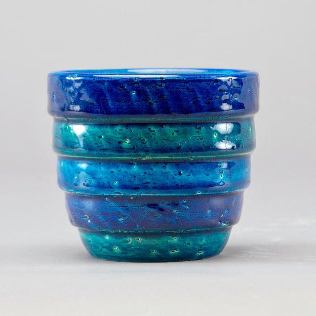 Italian Aldo Londi for Bitossi Small Rimini Blue Planter Pot For Sale - Image 3 of 7