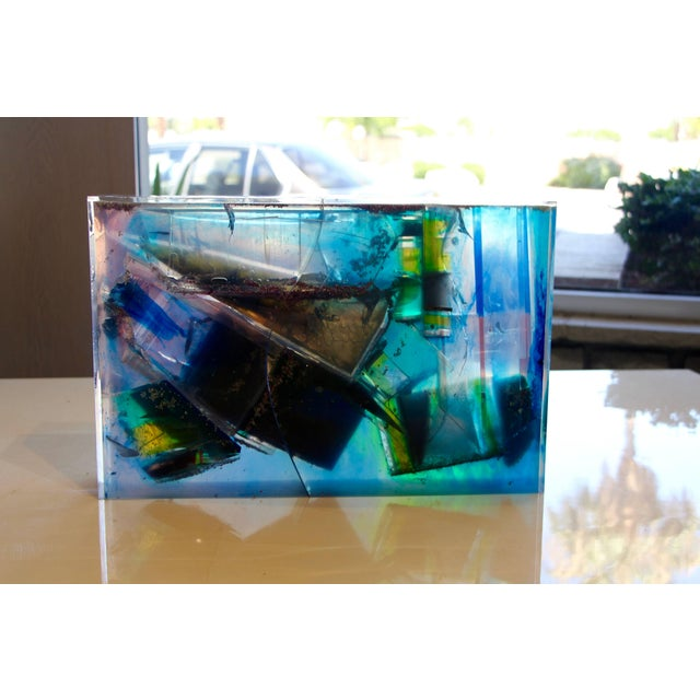 Modern Bijan Bahar Lucite and Epoxy Resin Sculpture Yin Yang For Sale - Image 3 of 10
