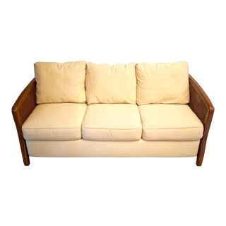 20th Century Transitional Faux Bamboo and Cane Arm Duck Cloth Sleeper Sofa For Sale