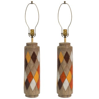 Pair of Bitossi Italian Ceramic Harlequin Lamps For Sale