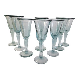 Mexican Bottle Green Blown Glass Goblets - S/8 For Sale