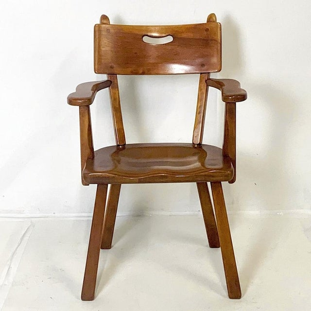 Americana Cushman Vermont Americana Hard Rock Maple Armchairs by Herman DeVries - a Pair For Sale - Image 3 of 6