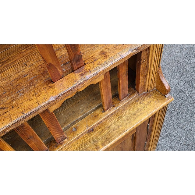 Antique 19th Century Irish Pine 2 Part Chicken Coop Cupboard Cabinet Hutch For Sale - Image 10 of 13