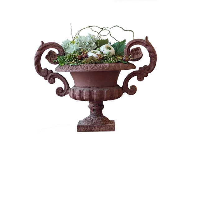 French Potted French Iron Urns - a Pair For Sale - Image 3 of 6