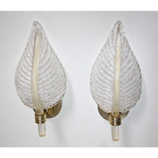Barovier & Toso 1950s Mid-Century Modern Barovier Murano Rugiadoso Leaf Wall Sconces - a Pair For Sale - Image 4 of 11