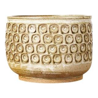 Christian Boehr Ceramic Stoneware Planter — Square Eye Pattern — White Glaze — P22 For Sale