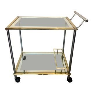 Chrome & Gold Bar Cart For Sale