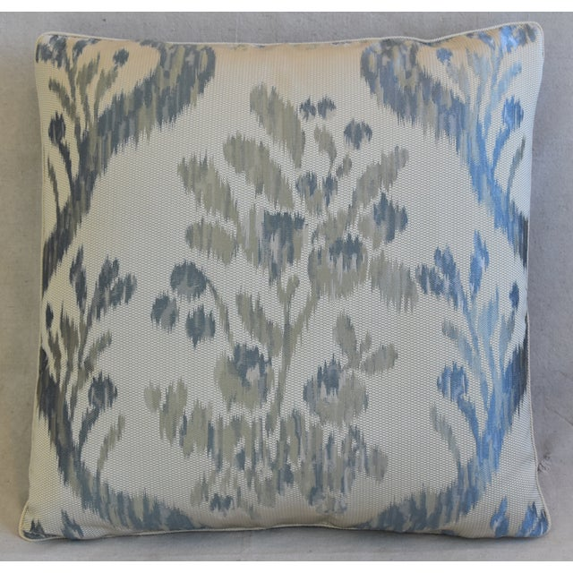 Custom-tailored pillow in unused Old World Weavers Stark silk fabric called Visby Tahoe Blue depicting a colorful woven...
