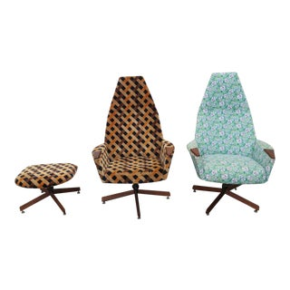 Mid Century Adrian Pearsall Pair of Swivel Side Chairs With One Ottoman For Sale