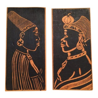 African Warrior Tribal Art Woodcut Plates - A Pair For Sale