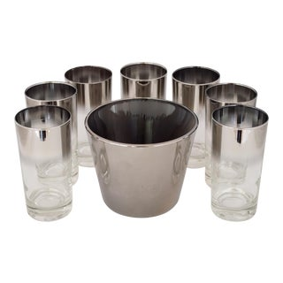 1960s Queen's Vitreon Lustreware Collins Glasses and Ice Bucket - Set of 8 For Sale