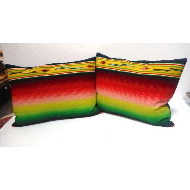 Rustic Mexican Indian Weaving, Serape Bolster Pillows For Sale - Image 3 of 4