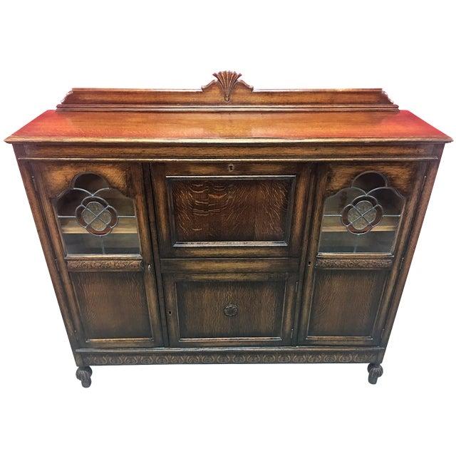 Antique Carved Wood Secretary Desk - Image 1 of 11