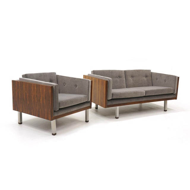 Mid-Century Modern Pair of Case Settees or Loveseats and Chair in Rosewood by Jydsk Møbelværk For Sale - Image 3 of 11
