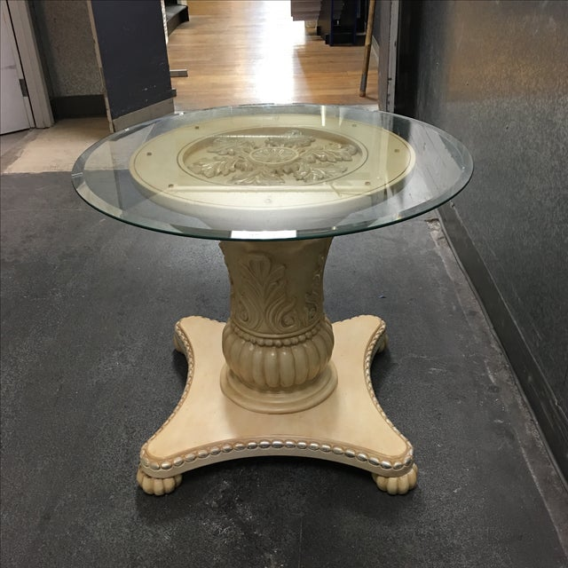 Classical Medallion Pedestal Side Table - Image 9 of 9