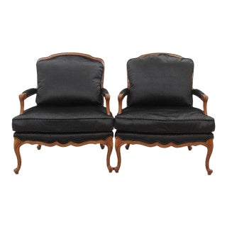Clarke & Clarke Upholstered Louis XV Style French Armchairs