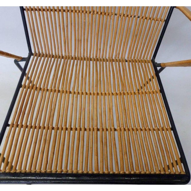 Italian Wrought Iron Frame Franco Albini Style Rattan Chair For Sale - Image 3 of 10