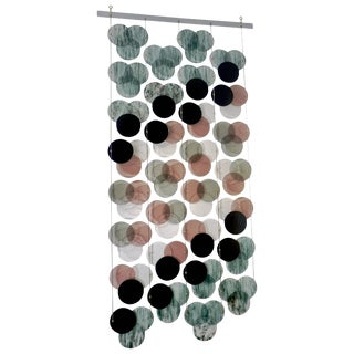 Organic Modern Italian Geometric Black, Pink, Aqua Murano Glass Curtain or Divider For Sale