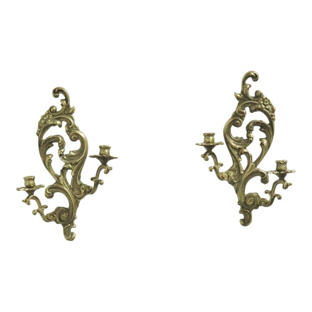 French Style Brass Sconces - a Pair For Sale