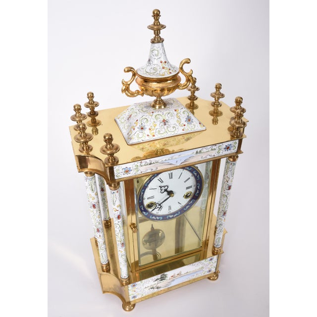 Mid-20th Century Brass Frame Mantel Clock For Sale - Image 9 of 12