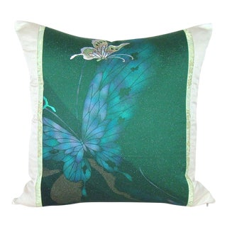 Emerald Butterfly Japanese Silk Kimono Pillow Cover For Sale
